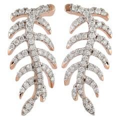 Feather Diamond 18 Karat Gold Stud Earrings