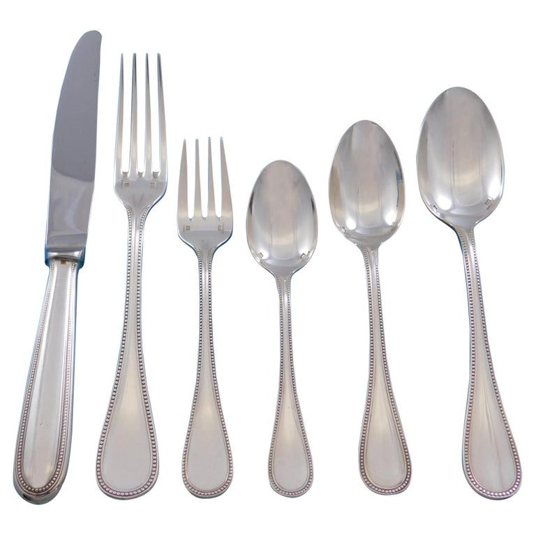 Feather Edge by Buccellati Sterling Silver Flatware Set Service 22 Pcs Dinner For Sale