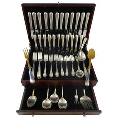 Feather Edge by Tuttle Sterling Silver Flatware Set for 12 Service 89 Pieces