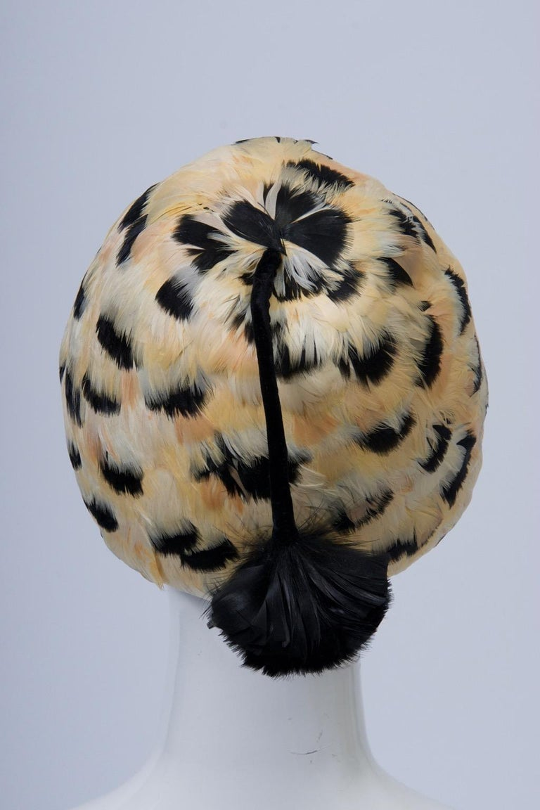 Beige Feather Hat with Tassel For Sale