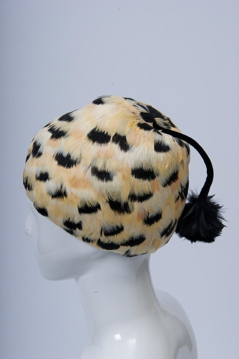 Feather Hat with Tassel In Good Condition For Sale In Alford, MA