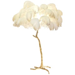 Feather Lamp with Gold Base