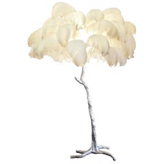 Feather Lamp with Silver Base