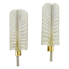 Feather Shaped Glass and Brass Sconces André Arbus for Veronese Midcentury, Pair