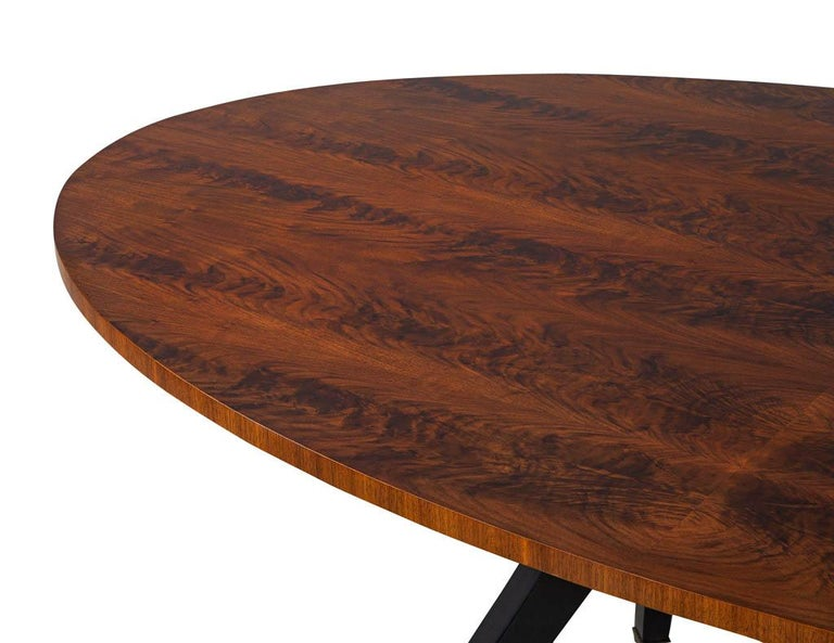 Feathered Walnut Oval Dining Table by Baker Furniture For Sale 3