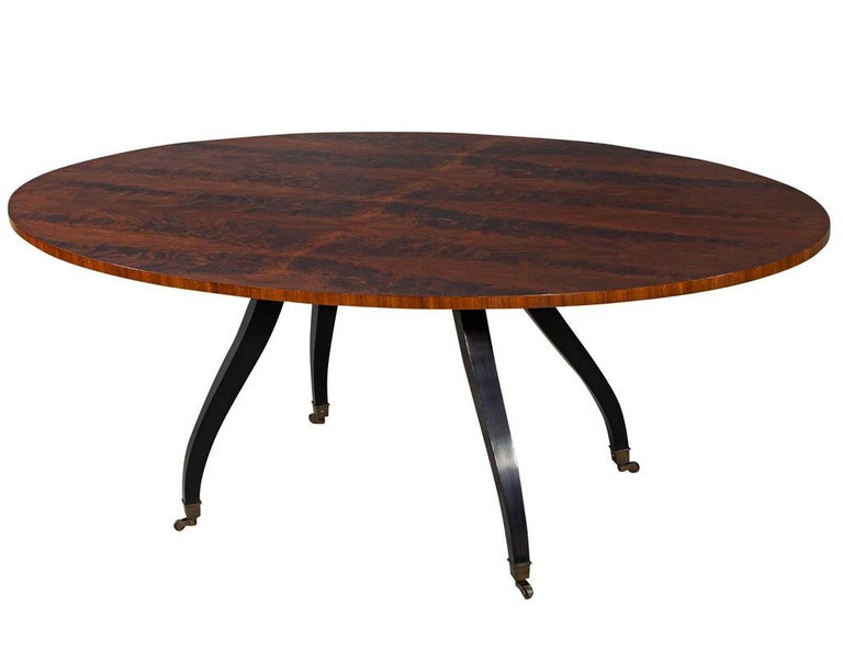Mid-Century Modern Feathered Walnut Oval Dining Table by Baker Furniture For Sale