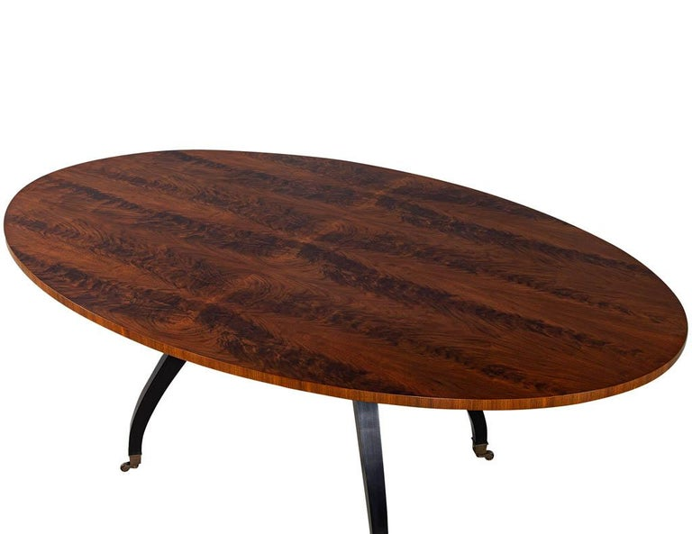 American Feathered Walnut Oval Dining Table by Baker Furniture For Sale