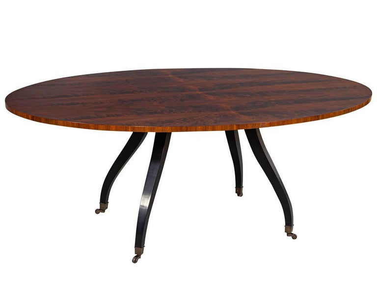 Feathered Walnut Oval Dining Table by Baker Furniture In New Condition For Sale In North York, ON