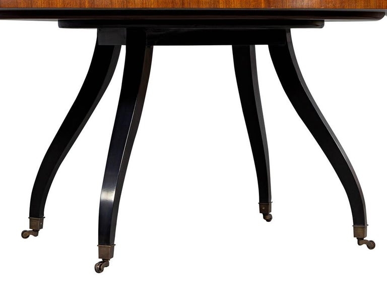 Contemporary Feathered Walnut Oval Dining Table by Baker Furniture For Sale