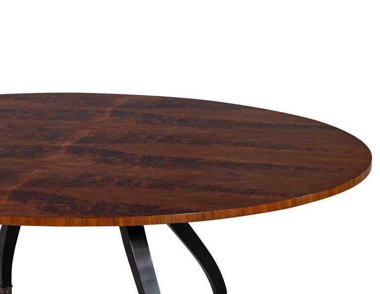 Metal Feathered Walnut Oval Dining Table by Baker Furniture For Sale