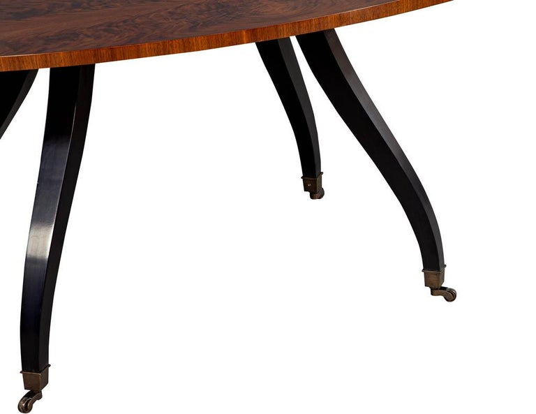 Feathered Walnut Oval Dining Table by Baker Furniture For Sale 1