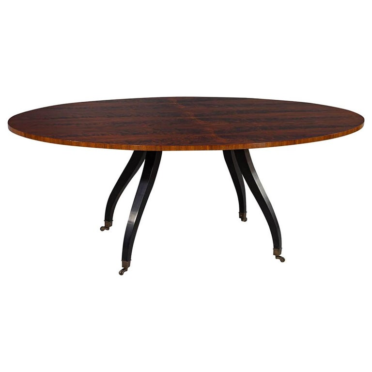 Feathered Walnut Oval Dining Table by Baker Furniture For Sale