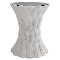 Feathers Marble Table in Agra White Marble