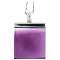 Featured in Vogue Designer Sterling Silver Pendant Necklace with Amethyst