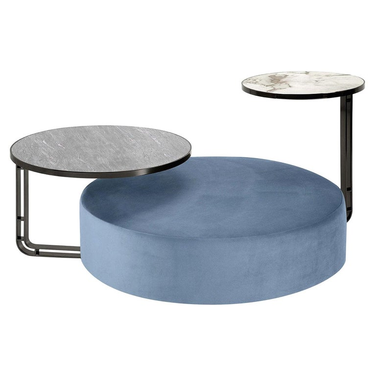 Febe Set of Azure Pouf and 2 Small Tables For Sale