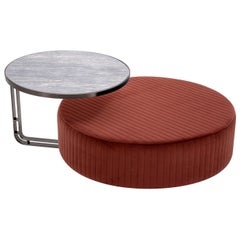 Febe Set of Burgundy Pouf and Small Table