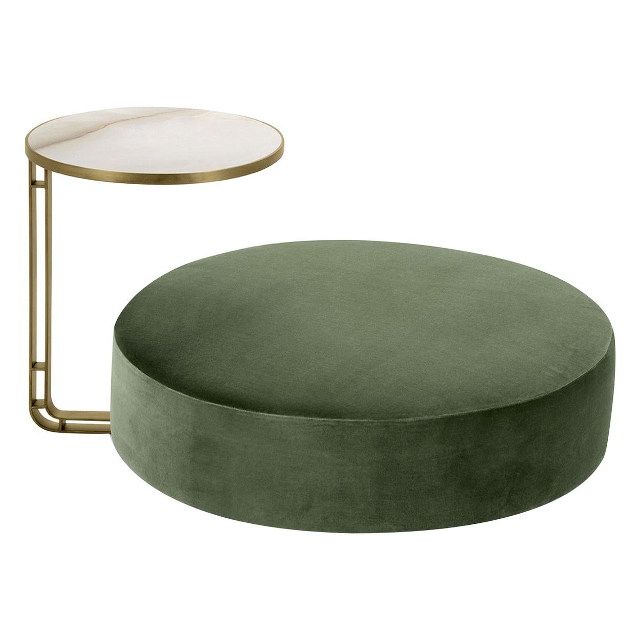 Febe Set of Green Pouf and Small Table