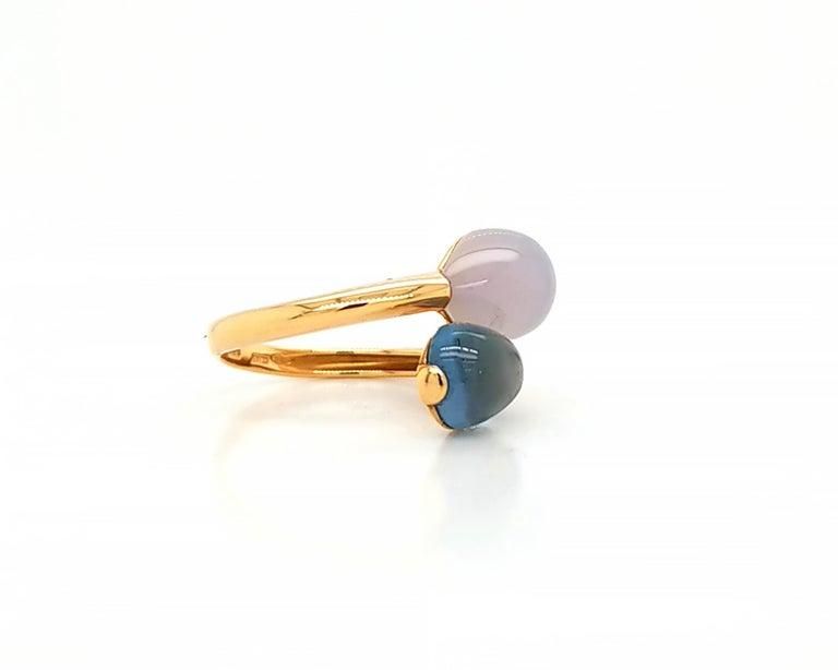 Cabochon Fecarotta Blue Topaz Quartz Twin Ring For Sale