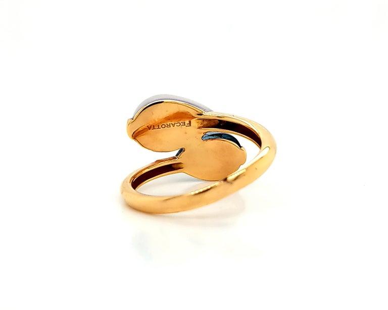 Fecarotta Blue Topaz Quartz Twin Ring In Excellent Condition For Sale In New York, NY