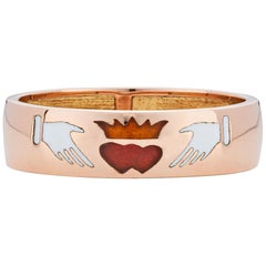 Fede Ring, 18 Karat Rose Gold with Enamel Inlay