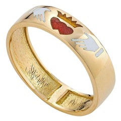 Fede Ring, 18 Karat Yellow Gold with Enamel Inlay