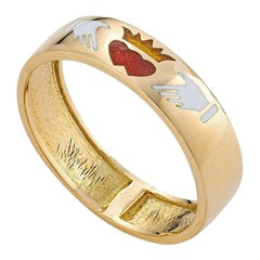 Fede Ring, 18 Karat Yellow Gold with Enamel Inlay
