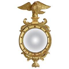 Federal Antique Giltwood Eagle Convex Mirror