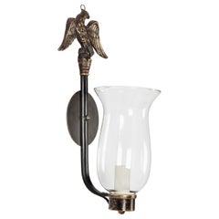 Federal Brass Cast Eagle Motif Hurricane Glass Sconces, circa 1920