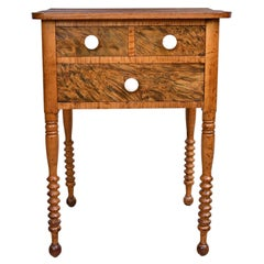 Federal Country Table or Nightstand in Fruitwood with Drawers, Pennsylvania