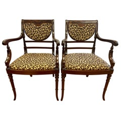 Federal Mahogany Armchairs Armchairs Newly Upholstered in Leopard Fabric