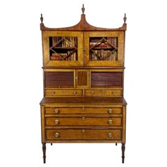 Federal Period American Tiger Maple Secretary Desk Portsmouth