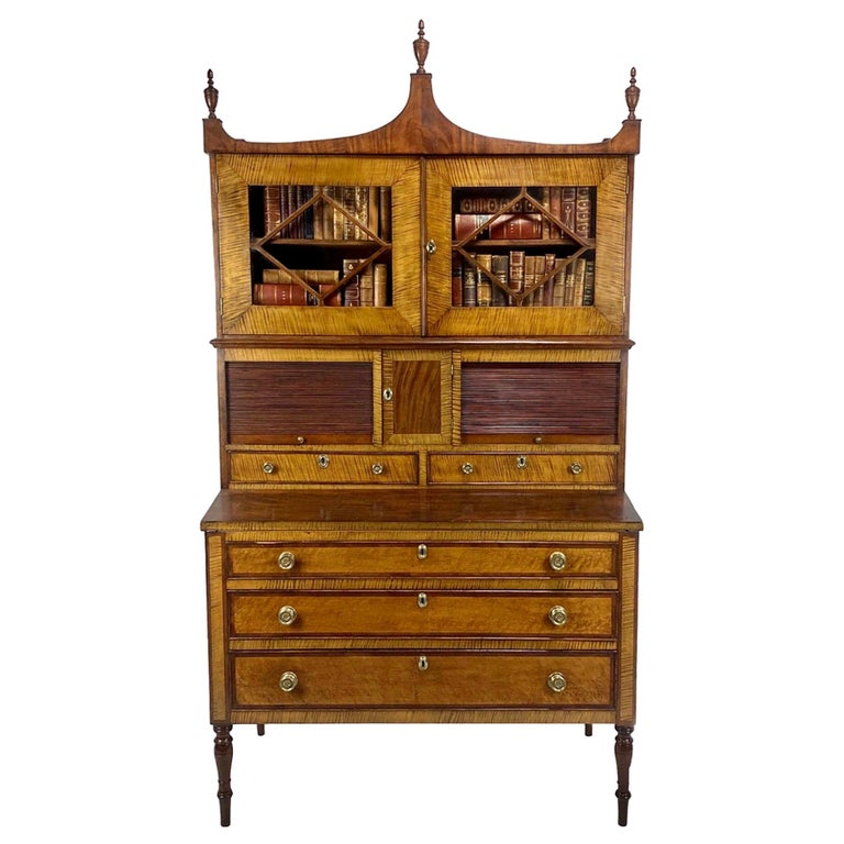 Federal Period American Tiger Maple Secretary Desk Portsmouth For Sale