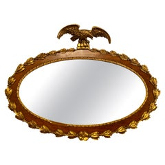 Federal Style 19th Century Oval Wall Console or over the Mantle Mirror