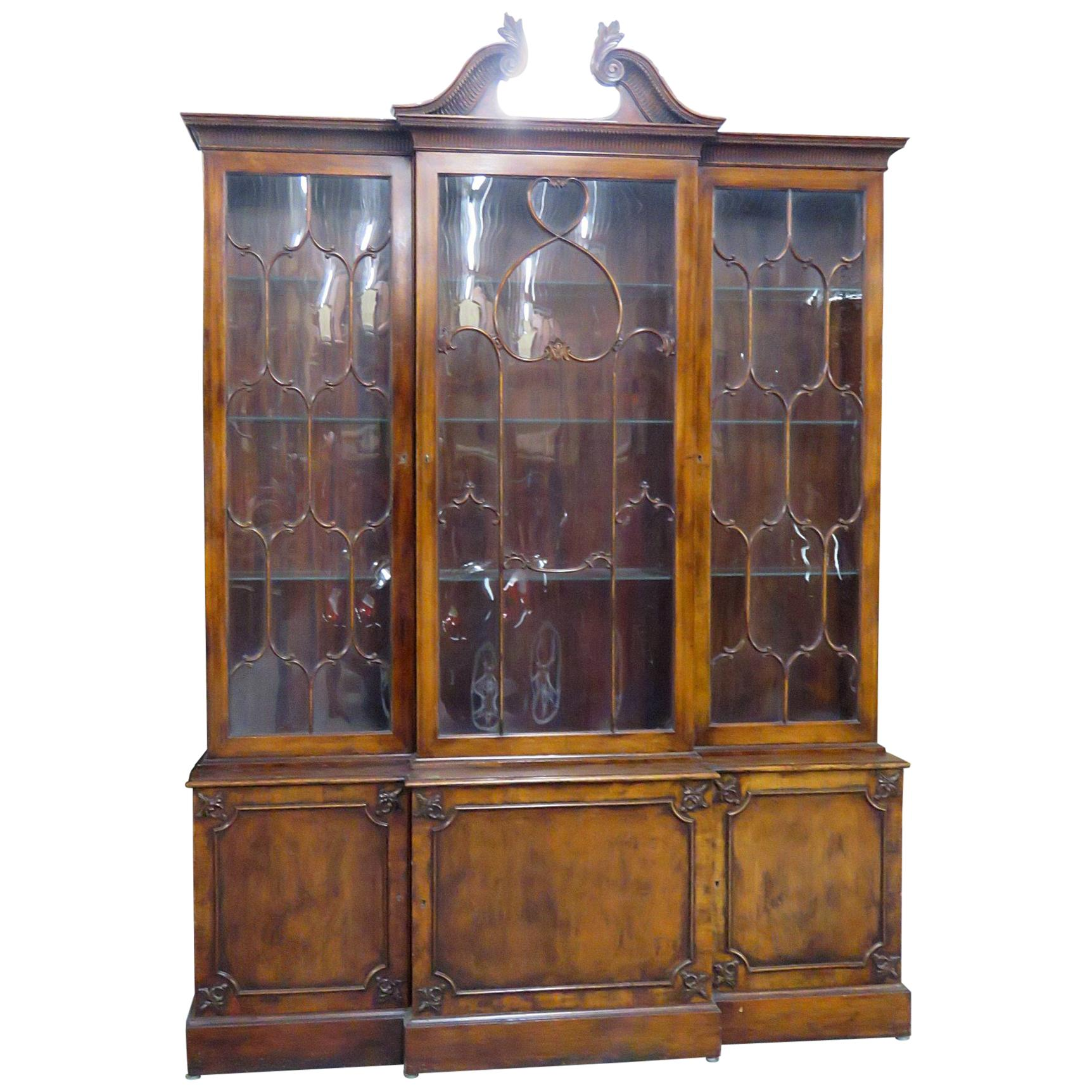 C1930s Era English Made Federal Style Mahogany Breakfront China Cabinet Bookcase