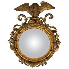 Federal Style Carved Gilt Bullseye Mirror W/ American Eagle on Crest, circa 1900