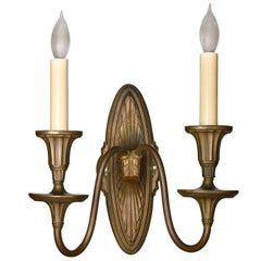 Federal Style Cast Brass Two Candle Sconce