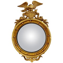 Federal Style Convex Eagle Carved Mirror, Wall, Console Mirror