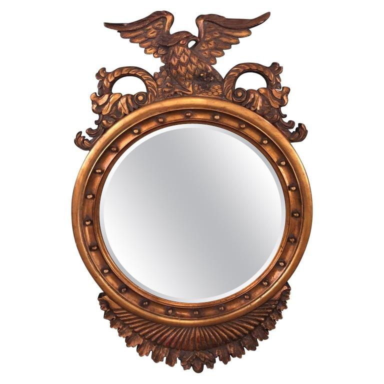 Federal Style Eagle Crested Circular Giltwood Wall or Console Mirror