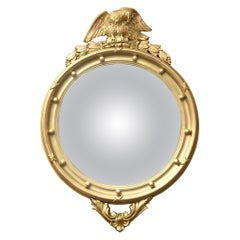Federal Style Gilt Eagle and Ball Convex Mirror, Vintage, American, circa 1940s