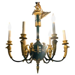 Federal Style Green Bronze Chandelier with Gilt Swan Heads