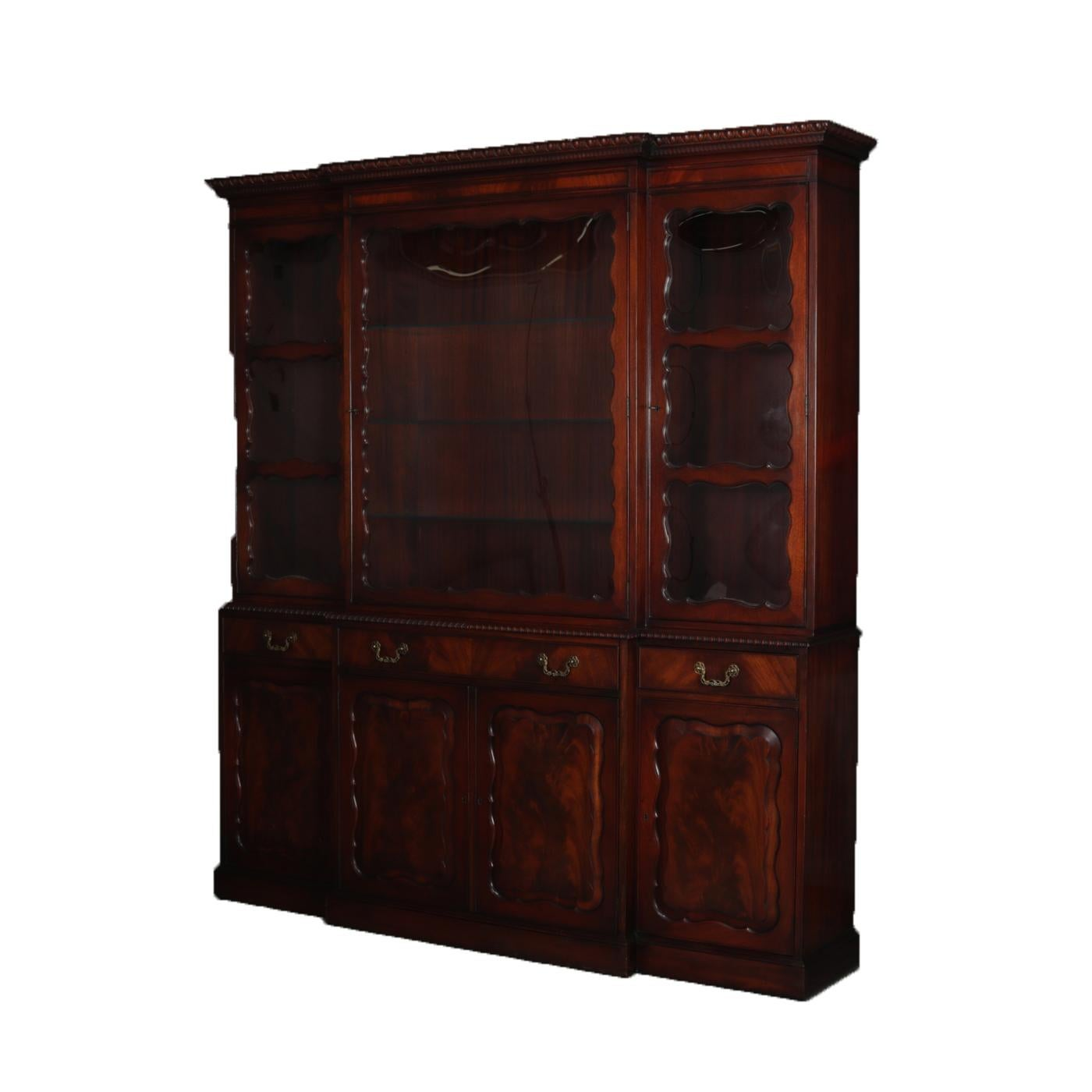 Federal Style Breakfront Lighted Cabinet By Grosfeld House, New York  Features Upper With Large Central