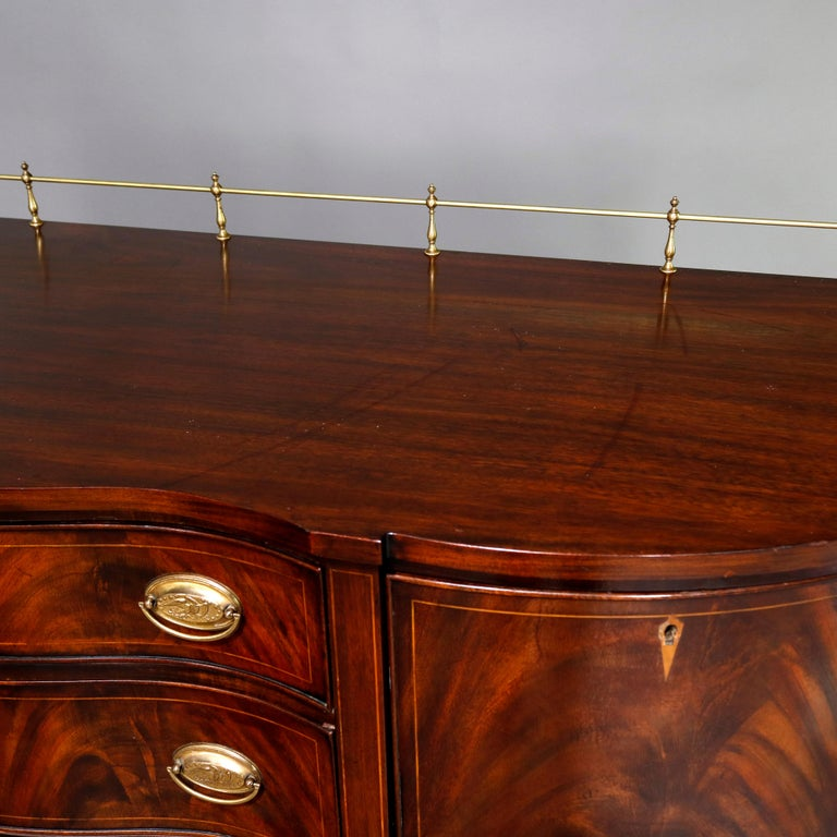 Federal Style Henkel Harris Flame Mahogany Inlaid Sideboard with Brass Rail For Sale 6