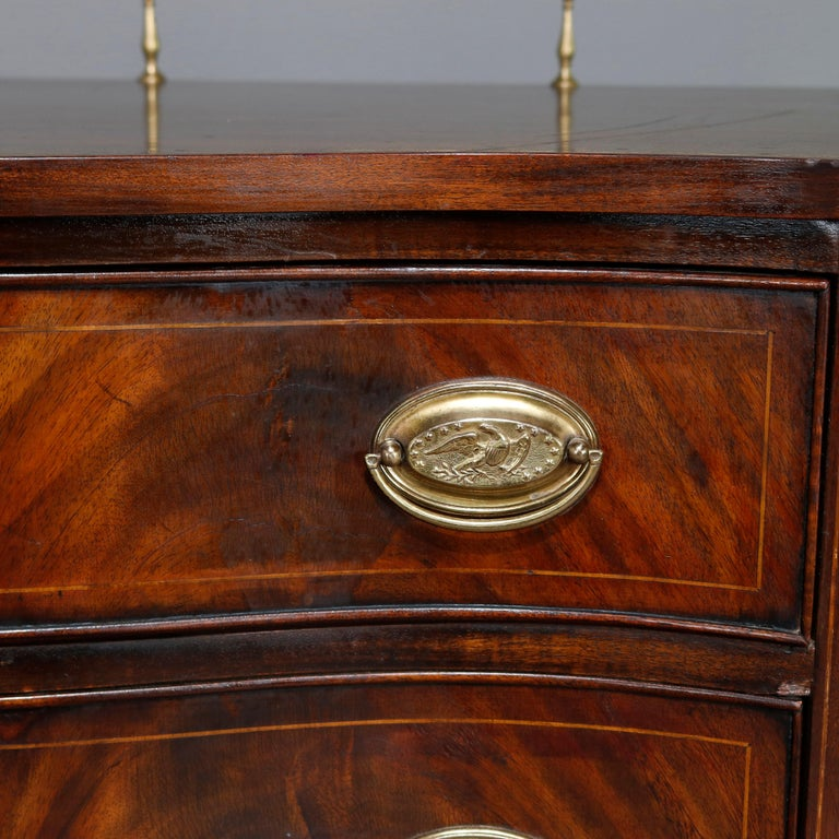 Federal Style Henkel Harris Flame Mahogany Inlaid Sideboard with Brass Rail In Good Condition For Sale In Big Flats, NY