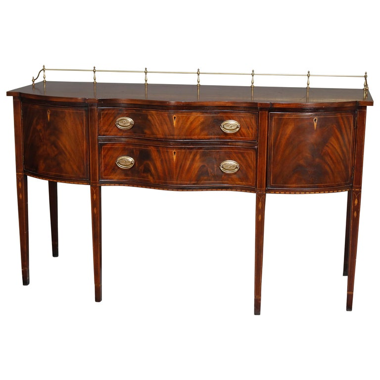 Federal Style Henkel Harris Flame Mahogany Inlaid Sideboard with Brass Rail For Sale
