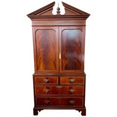 Federal Style Mahogany Armoire Wardrobe Cabinet Dresser