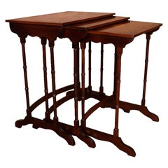 Federal Style Mahogany Satinwood Nesting Tables