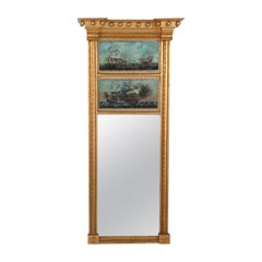 Federal Style Mirror Featuring Églomisé of USS Constitution and HMS Guerriere