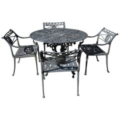 Federal Style Patio Set, Table, Attributed to Molla, Dolphin and Star Design