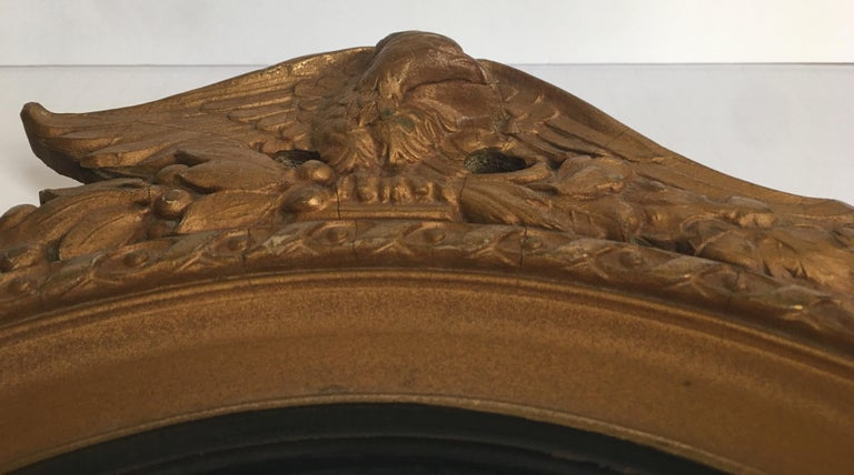 Federal Style Round Convex Giltwood Eagle Mirror For Sale 1