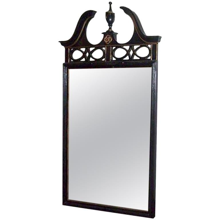 Federal Style Wood Mirror with Gilt Detailing For Sale